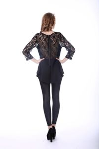 Women Black Lace Sexy Blouse Back Neck Design pictures & photos