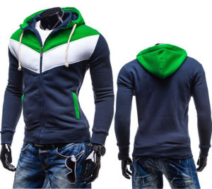 Hot Selling Spell Color Male Fleece Hooded Sweater Coat pictures & photos