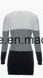 Women′s Round Neck Long Sleeve Tri-Colors Top Grade Pure Cashmere Sweater pictures & photos