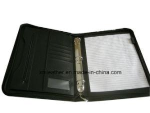 Black Soft Leather Portfolio File Folder with Ring Binder pictures & photos