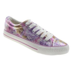 Flower Printed PU Lace up Fashion Vulcanized Shoe for Women