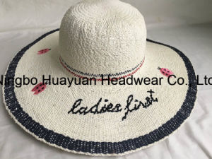 100% Paper Hand Made Beach Style Floppy Style Embroidery Emb Straw Hat