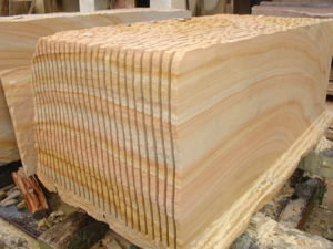Popular China Wall Cladding Yellow Wood Sandstone pictures & photos