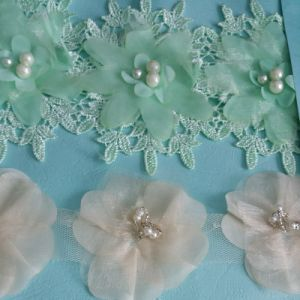 Lovely Flower with Pearl Embroidery Lace Trim pictures & photos