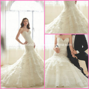 Mermaid Ball Gowns Tiered Lace Organza Wedding Bridal Dresses Y1628 pictures & photos
