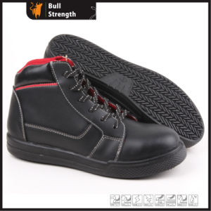 Cemented Rubber Outdoor Safety Shoe with Genuine Leather (SN5266) pictures & photos