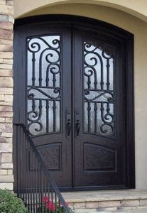 Arch Top Wrought Iron Double Entry Door for House pictures & photos