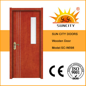 Commercial Veneered Wood Panel Door with Glass (SC-W098) pictures & photos