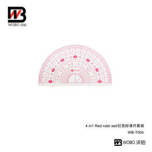 Office Stationery 4 in 1 Red Stationery Ruler Set for Promotional Gift pictures & photos