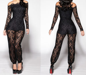 New Design Floar Lace Body Lining off Shoulder Sexy Black Lace Jumpsut pictures & photos
