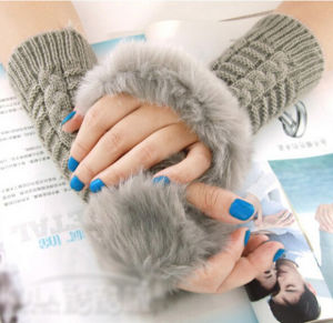 Lady Fashion Warm Fur Fingerless Gloves (MU2604) pictures & photos