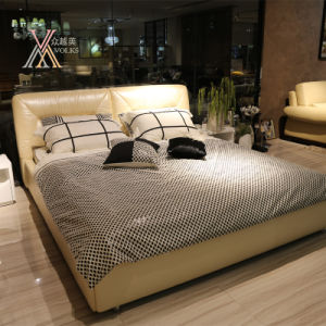 Top Grain Beige Leather Bed for Home (2107+05) pictures & photos