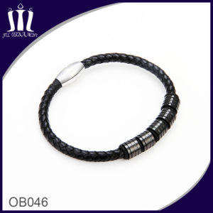 Magentic Clasp Black Genuine Learther Rope Chain Bracelet with Stainless Tube pictures & photos