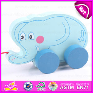 Interesting Kids Pulling Elephant with Pulley Wheel, Wooden Elephant Pull Toy Blue Wooden Gift Wholesale Toy W05b115 pictures & photos