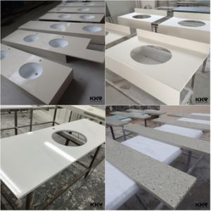 Custom Sizes Cultured Marble Bathroom Vanity Top with Sink pictures & photos
