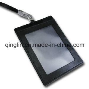 Custom PU Leather ID Card Holder with Lanyard (QL-GZZ-0007) pictures & photos