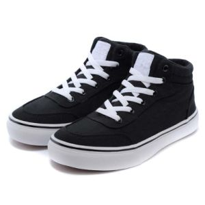 High Top Extra Wide Black Cotton Lace up Canvas Shoes pictures & photos
