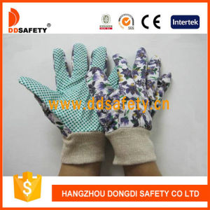 Ddsafety 2017 Women′s Flower Design Garden Gloves with Green Dots on Palm pictures & photos