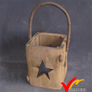 Hand Carved Christmas Home Hanging Wood Lantern with Star pictures & photos