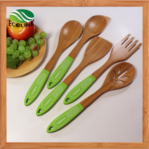 Silicone Handle Anti-Skid Bamboo Cooking Spoon pictures & photos