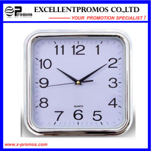 Silver Frame Logo Printing Square Plastic Wall Clock (Item27) pictures & photos