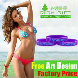 Custom High Quality Imprinted Yellow Silicone Bracelet Access Control pictures & photos