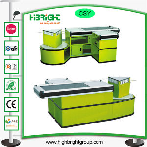 Supermarket Checkout Counter with Convey Belt and Add-on Unit pictures & photos