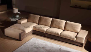 Wooden Leather Home Furniture Sectional Living Room Chaise Sofa (N818) pictures & photos