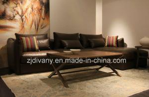 European Modern Classics Fabric Sofa Black Leather Sofa (D-74-D+B+D) pictures & photos