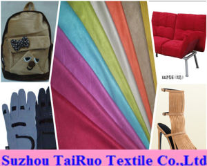 100% Polyester Microfiber Suede for Shoes Fabric pictures & photos
