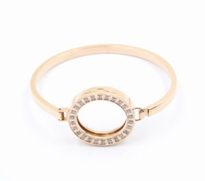 Latest Design Fashion Oval Rose Gold Stainless Steel Bangle with Magnet Locket on Top pictures & photos