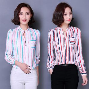 Factory Clothes 2016 Fashion Stripe Office Women Shirt pictures & photos