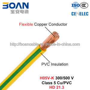 H05V-K, House Wiring, Electric Wire, 300/500 V, Class 5 Cu/PVC (HD 21.3) pictures & photos