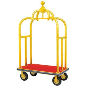 Hotel Crown Birdcage Luggage Trolley With Golden Chrom Finish pictures & photos