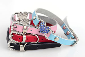 Design Heart Pet Accessories Rhinestones jewelry Dog Collars pictures & photos