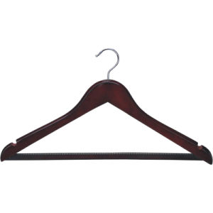 Silver Ring Wooden Clothes Hanger with Rubber Teeth pictures & photos