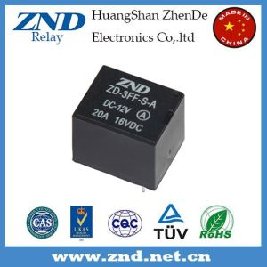 3FF (T73) 20A 12V Power Relay Black Cover Miniature Electromagnetic Relay 4pins pictures & photos