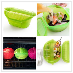 Microwave Usage Silicone Steam Case with Tray pictures & photos