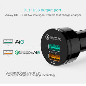 Aukey for Qualcomm Quick Charger 3.0 Dual Port Mini USB Car Charger with Cable pictures & photos