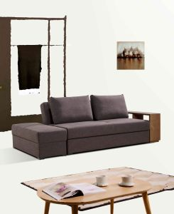 Fabric Sofa Set with Wooden Shelf pictures & photos