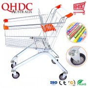Suzhou Qhdc Corrosion Protection Euro Type Wheeled Market Shopping Trolley Cart 65liter-240 Liters for Carrying Shopping Goods