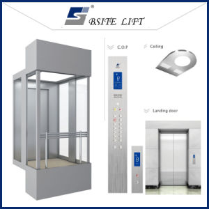 Hsgq-1417-Square Type Sightseeing Elevators with Full Glass Cabin Wall pictures & photos