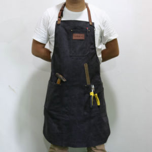 Custom Personalized Utility Olive Canvas Carpenter Aprons with Leather Strap pictures & photos