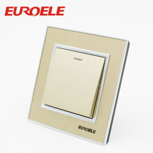 2 Gang acrylic Gold Color 86*86*37mm 250V/10A Wall Swicthes pictures & photos