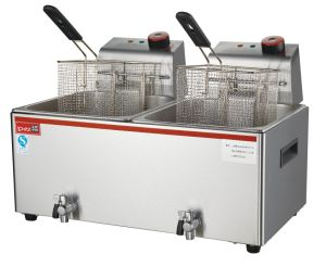 Electric Deep Flat Chicken Fryer Machine with Drain Taps with Ce pictures & photos