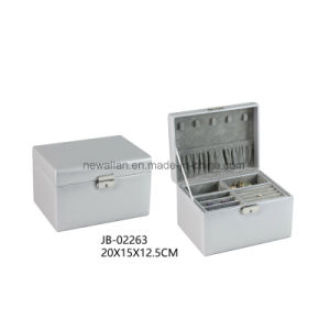 Sweet Design Silver Leather Square Shape Travel Jewelry Gift Box Jewelry Box pictures & photos