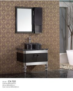 Floor-Mounted Stainless Steel Bathroom Vanity with Marble Countertop pictures & photos