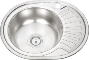 6550 Stainless Steel Single Bowl with Plate Stretching Sink pictures & photos