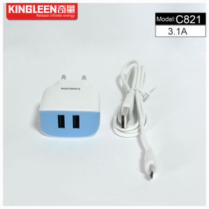 Kingleen C821 Micro/iPhone Dual USB Intelligent Battery Charger 5V3.1A Hot Sale pictures & photos