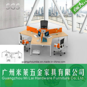 High Quality Cross Design Office Wooden Furniture Desk in Three Seater pictures & photos